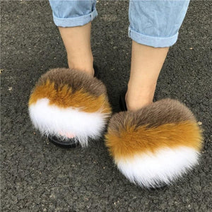 BIG SALE Multicolor women fur slides slipper fashion fox fur slippers