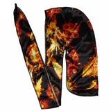 Unisex Men Fire Silkly Durag with Long Tail Straps