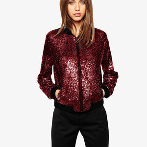 Women's Long Sleeve Glitter Sequins Bomber Jacket