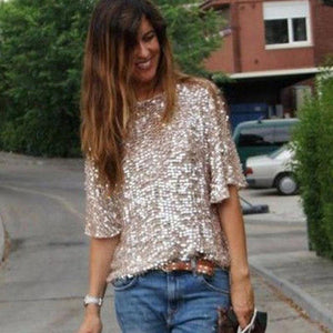 Lady's Sparkly Glittery Blouse with Quarter Length Sleeves