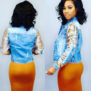 New Style Jean Jacket with Ripped Sequins Sleeves for Woman 😍😍😍