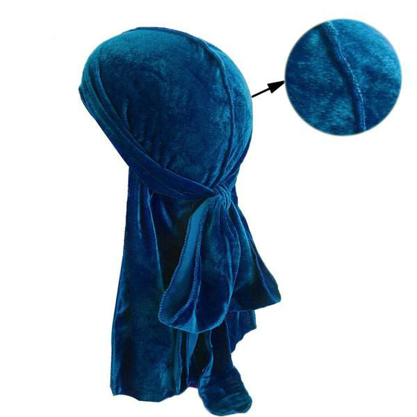 Breathable Velvet Bandana Durag with Long Tail