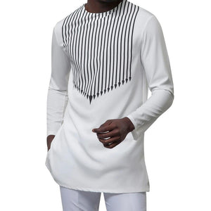 Striped Print Men's New African Dashiki Long Sleeve Mens White Africa Shirts