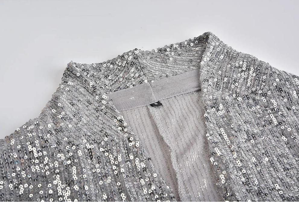 Shiny Sequins Long Sleeved Blazers For Women