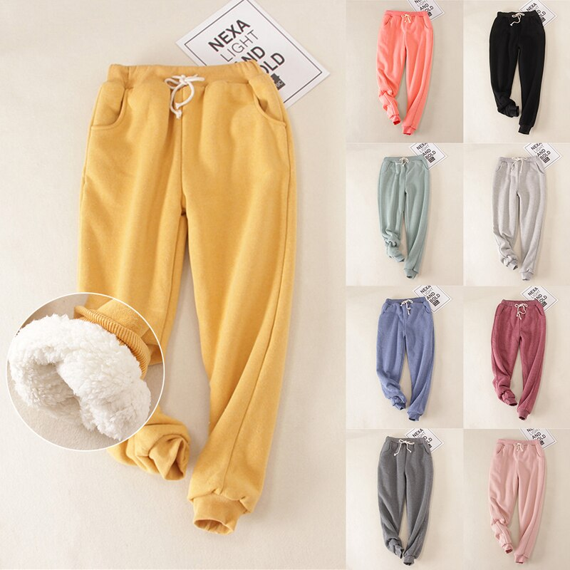 Thick Winter Fleece Pants Faux Lamb Lined Jogger Sweatpants