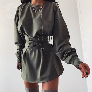 TAUPIN AM Loose Casual Dresses For Women 2019 Belt Sashes Lace Up Long Sleeve Dress Sweatshirt White Short Ladies Dresses Winter