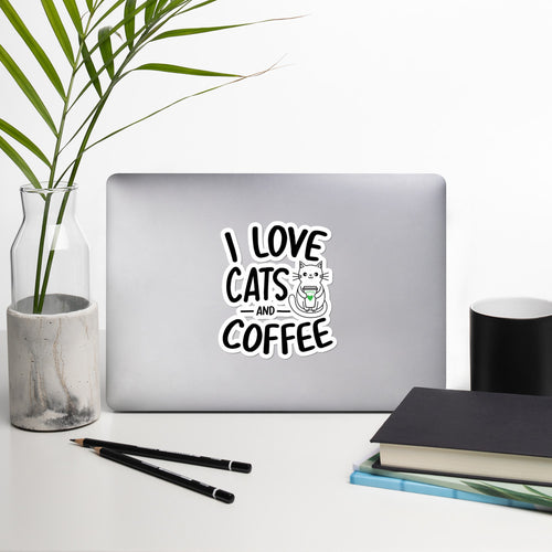 I love cats and coffee bubble-free stickers