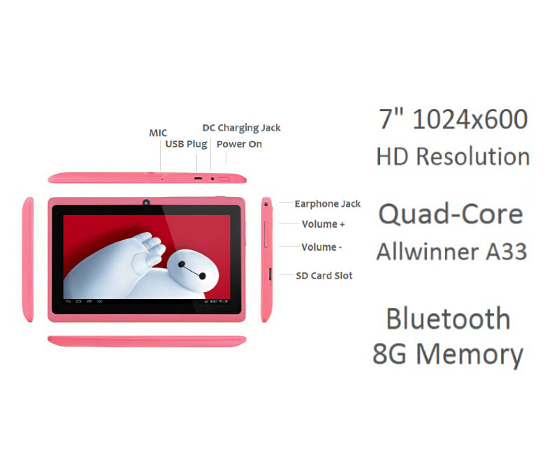 Tablette PC  7 pouces A33 Quad-core 8G Memory Google Play Store Bluetooth WIFI Android 4.4 PC Computor