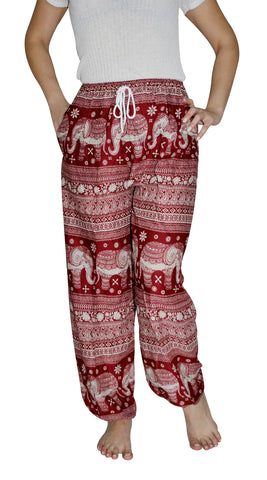 Asana Red Elephant Smock Pants