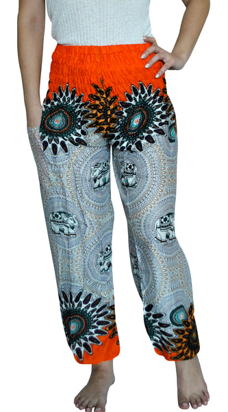 Mandala Orange Harem Elephant Pants