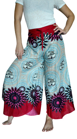 Mandala Red Wine Palazzo Elephant Pants
