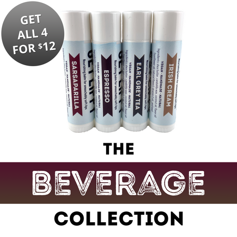 Beverage Lip Balm Collection (Set of 4) — Espresso, Earl Grey Tea, Sarsaparilla, and Irish Cream