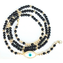 Load image into Gallery viewer, Maxi Evil Eye Mask Chain - Black & Gold Beads