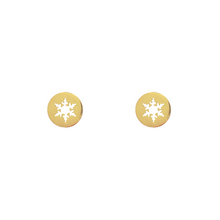 Load image into Gallery viewer, Snowflake Coin Stud Earrings