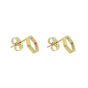 Open Hexagon Stud Earrings