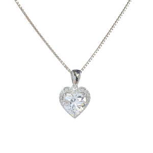 Solitaire Heart And Halo Necklace