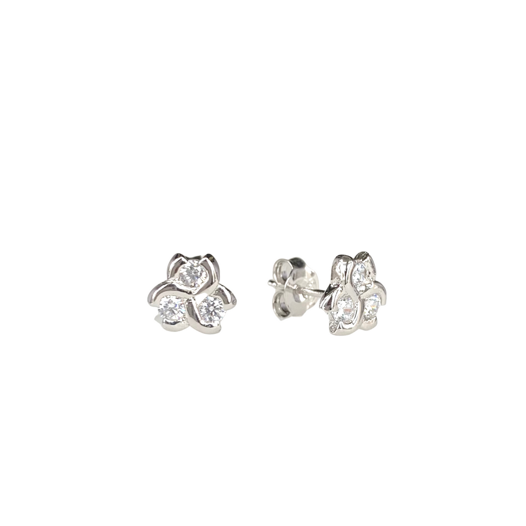 Three Stone Honeycomb Stud Earrings