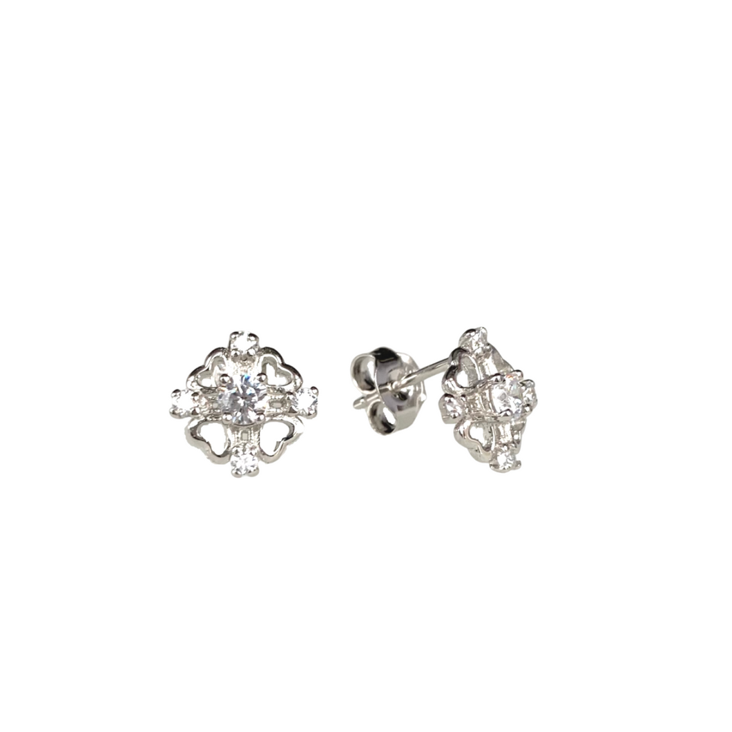 Solitaire Four Heart Stud Earrings