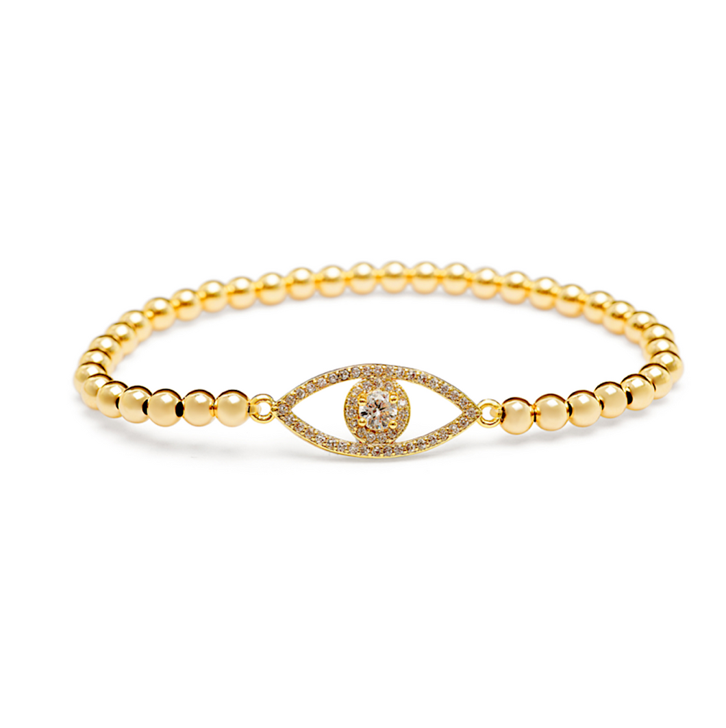 Gold Solitaire Evil Eye Bracelet - 4mm Gold Beads