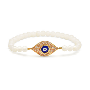 Gold Enamel Evil Eye Bracelet - 4mm Shell White Beads