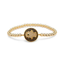 Load image into Gallery viewer, Gold CZ Hamsa Hand Coin Bracelet - 4mm Gold Beads