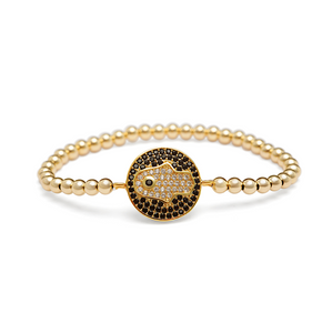 Gold CZ Hamsa Hand Coin Bracelet - 4mm Gold Beads