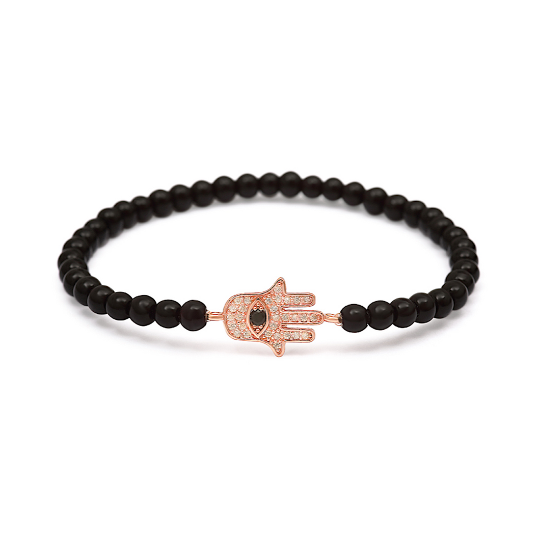 Rose Gold Black Solitaire Hamsa Hand Bracelet - 4mm Black Beads (Gloss)