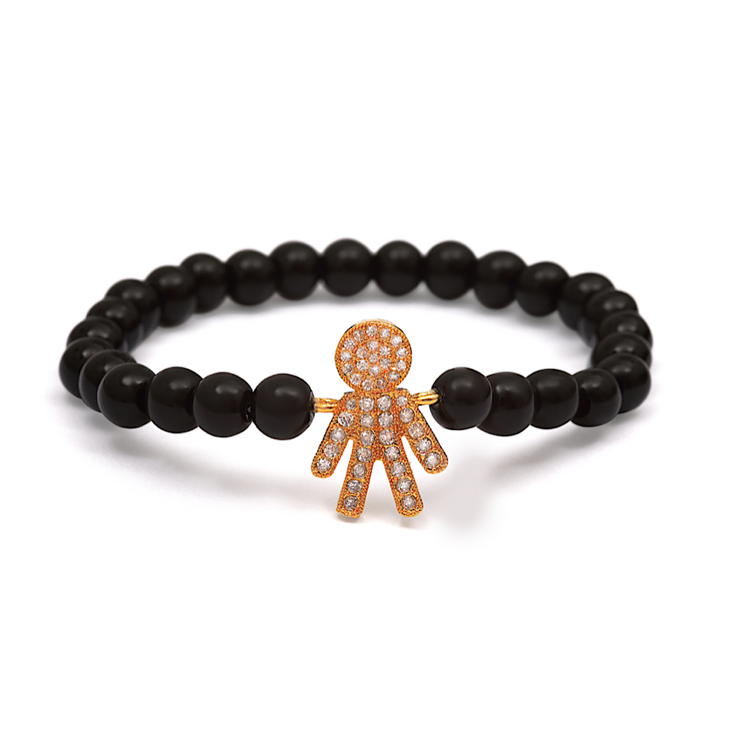 Gold Boy Bracelet - 6mm Black Beads (Gloss)