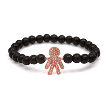 Load image into Gallery viewer, Rose Gold Boy Bracelet - 6mm Black Beads (Gloss)