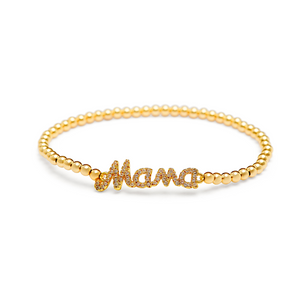Gold Mama Bracelet - 3mm Gold Beads