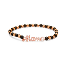 Load image into Gallery viewer, Rose Gold Mama Bracelet - 4mm Black & Rose Gold Beads