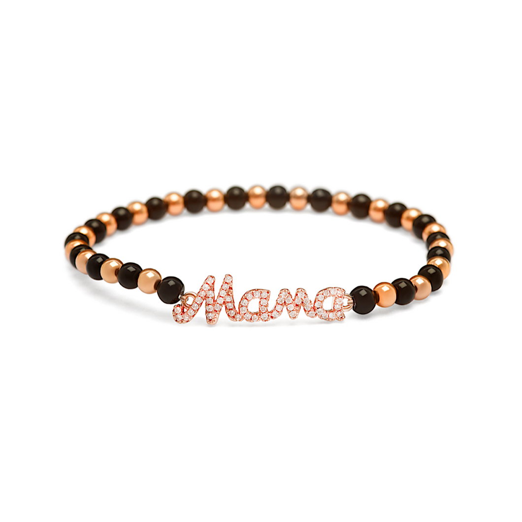 Rose Gold Mama Bracelet - 4mm Black & Rose Gold Beads