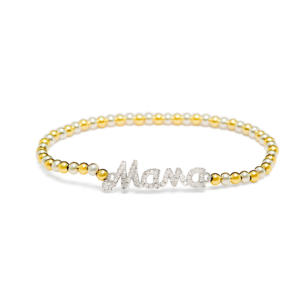 Silver Mama Bracelet - 3mm Gold & Silver Beads