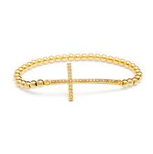 Load image into Gallery viewer, Gold Sideways Cross Bracelet - 3mm Gold Beads