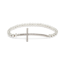 Load image into Gallery viewer, Silver Sideways Cross Bracelet - 3mm Silver Beads