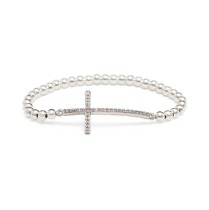 Silver Sideways Cross Bracelet - 3mm Silver Beads