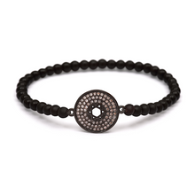 Load image into Gallery viewer, Black Star of David Bracelet - 4mm Black Beads (Gloss)