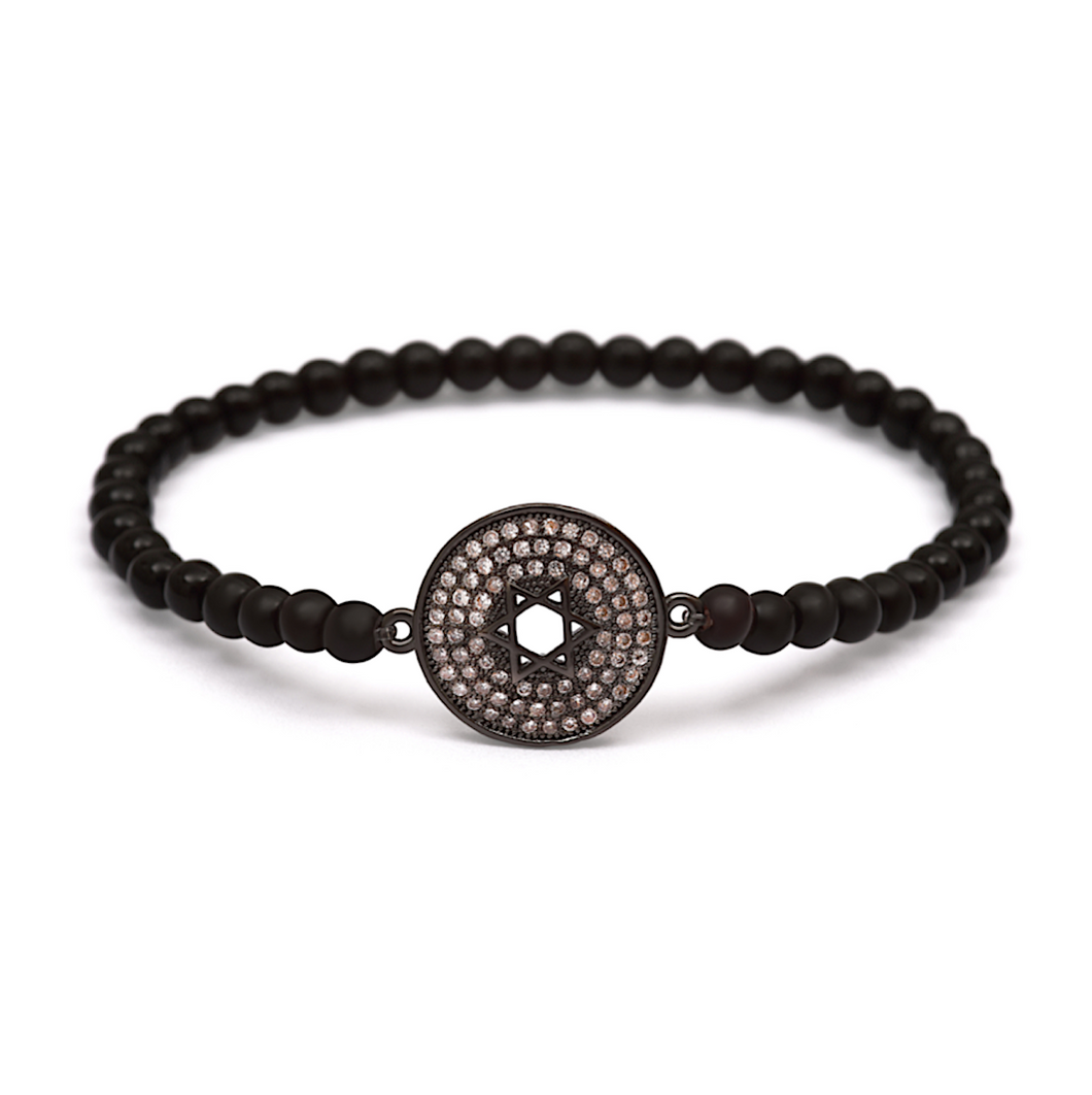 Black Star of David Bracelet - 4mm Black Beads (Gloss)