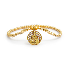 Load image into Gallery viewer, Gold Buddha Coin Dangle Charm Bracelet - 3mm Gold Beads