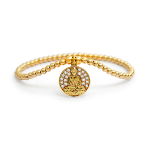 Gold Buddha Coin Dangle Charm Bracelet - 3mm Gold Beads