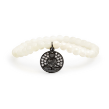 Load image into Gallery viewer, Black Buddha Coin Dangle Charm Bracelet - 4mm Shell White Beads