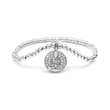 Load image into Gallery viewer, Silver Buddha Coin Dangle Charm Bracelet - 3mm Silver Beads