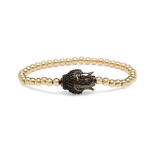 Load image into Gallery viewer, Black Black Stone Crowned Buddha Bracelet - 4mm Gold Beads