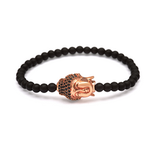 Load image into Gallery viewer, Rose Gold Black Stone Crowned Buddha Bracelet - 4mm Black Beads (Matte)