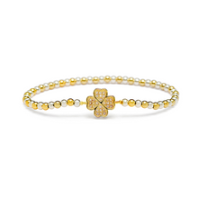 Load image into Gallery viewer, Gold Four Leaf Clover Bracelet - 3mm Silver & Gold Beads