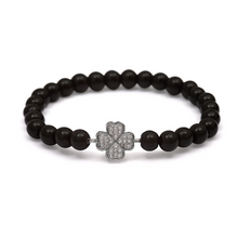 Load image into Gallery viewer, Silver Four Leaf Clover Bracelet - 6mm Black Beads (Gloss)