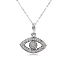 Load image into Gallery viewer, Silver Pave Evil Eye Necklace