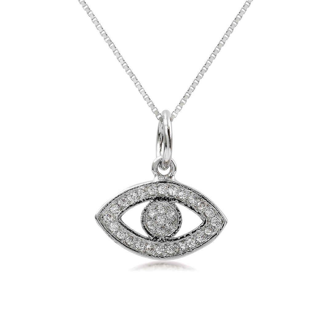 Silver Pave Evil Eye Necklace