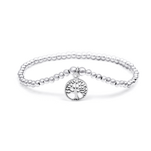 Load image into Gallery viewer, Silver Circle Tree of Life Bracelet - 3mm Silver Beads