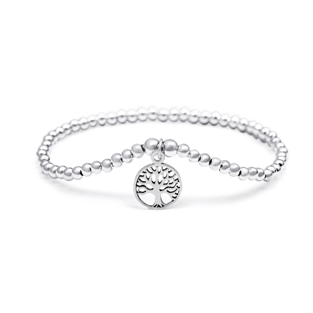 Silver Circle Tree of Life Bracelet - 3mm Silver Beads